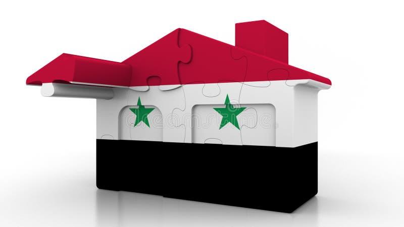 Οικοδόμηση του σπιτιού γρίφων που χαρακτηρίζει τη σημαία της Συρίας Συριακή εννοιολογική τρισδιάστατη απόδοση κατασκευής ελεύθερη απεικόνιση δικαιώματος