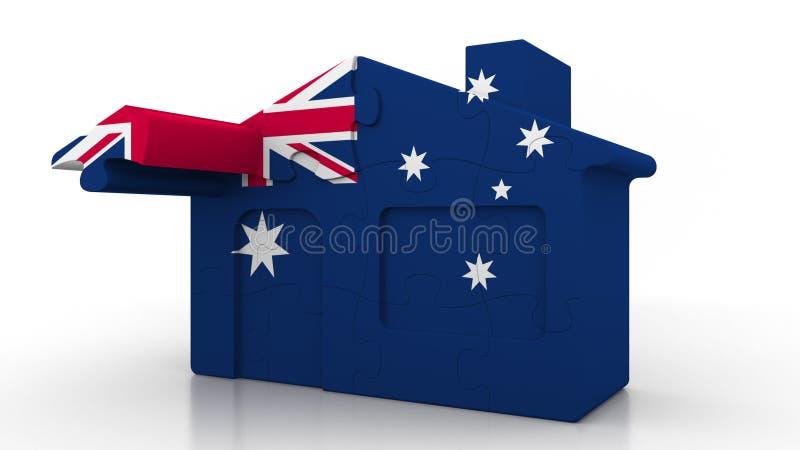 Οικοδόμηση του σπιτιού γρίφων που χαρακτηρίζει τη σημαία της Αυστραλίας Αυστραλιανή αποδημία, κατασκευή ή κτηματομεσιτική αγορά ε διανυσματική απεικόνιση