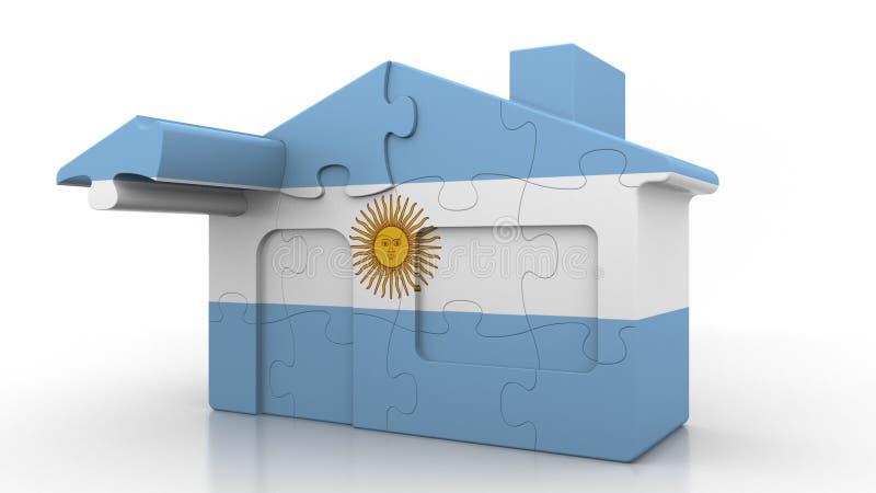 Οικοδόμηση του σπιτιού γρίφων που χαρακτηρίζει τη σημαία της Αργεντινής Αργεντινή αποδημία, κατασκευή ή κτηματομεσιτική αγορά ενν απεικόνιση αποθεμάτων