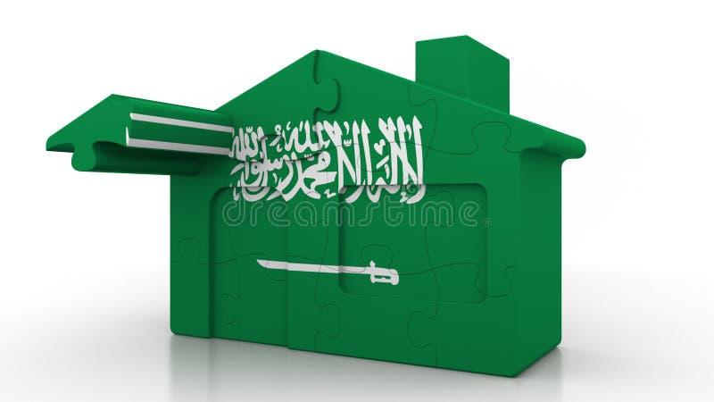 Οικοδόμηση του σπιτιού γρίφων που χαρακτηρίζει τη σημαία της Σαουδικής Αραβίας Αραβική αποδημία, κατασκευή ή κτηματομεσιτική αγορ απεικόνιση αποθεμάτων