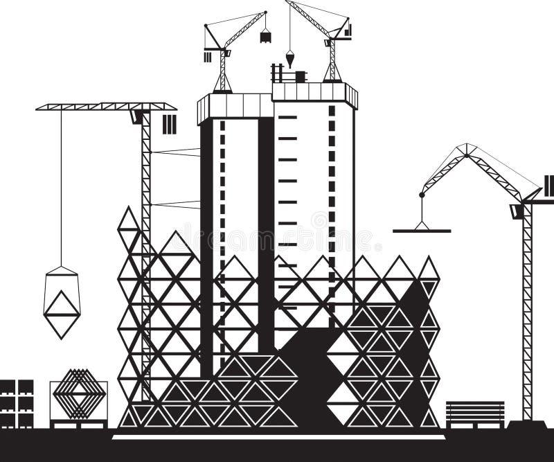 Οικοδόμηση των υψηλών κτηρίων ανόδου διανυσματική απεικόνιση