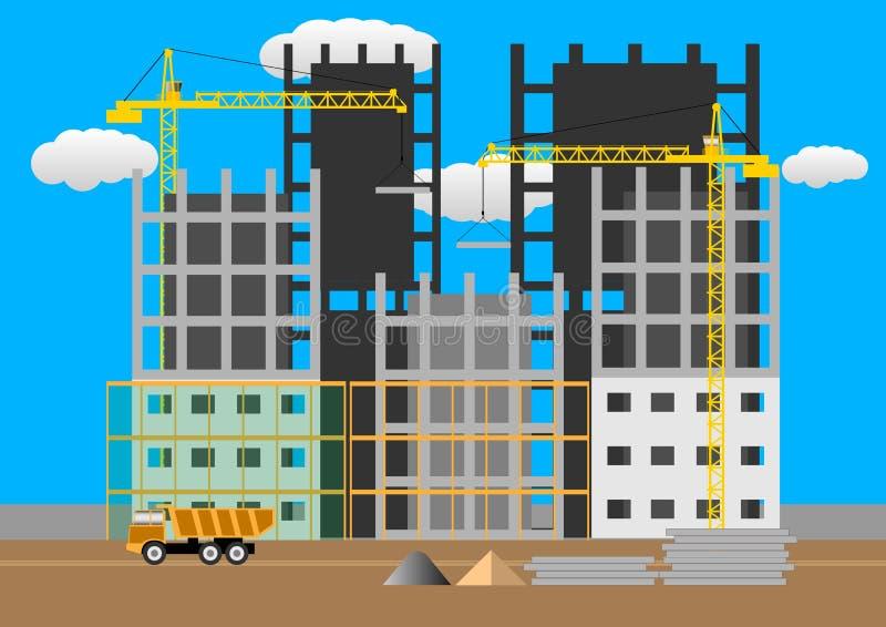 Οικοδόμηση των multi-storey κτηρίων κατασκευή του κατοικημένου σπιτιών εργοτάξιων οικοδομής έννοιας διανύσματος ύφους σχεδίου επί ελεύθερη απεικόνιση δικαιώματος