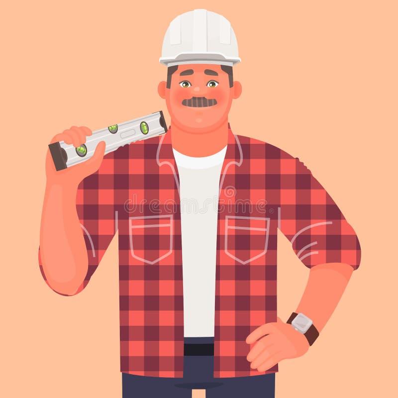 Οικοδόμος Ένα άτομο σε ένα σκληρό καπέλο και λειτουργώντας ενδύματα συνεχίζει το επίπεδο Επιστάτης εργοτάξιων οικοδομής ελεύθερη απεικόνιση δικαιώματος