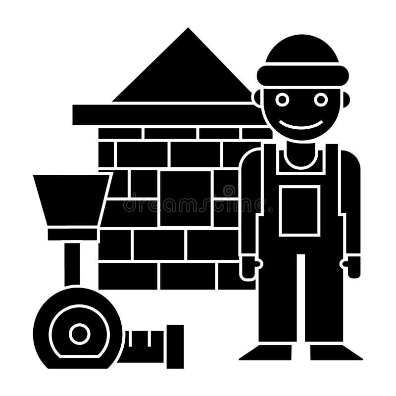 Οικοδόμος - σπίτι τούβλου - εικονίδιο μετρητών, διανυσματική απεικόνιση, μαύρο σημάδι στο απομονωμένο υπόβαθρο απεικόνιση αποθεμάτων