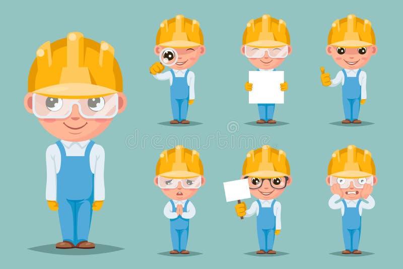 Οικοδόμων μηχανικών τεχνικών οι μηχανικοί χαριτωμένοι χαρακτήρες κινουμένων σχεδίων έγκρισης υποστήριξης μασκότ ευτυχείς θέτουν τ απεικόνιση αποθεμάτων