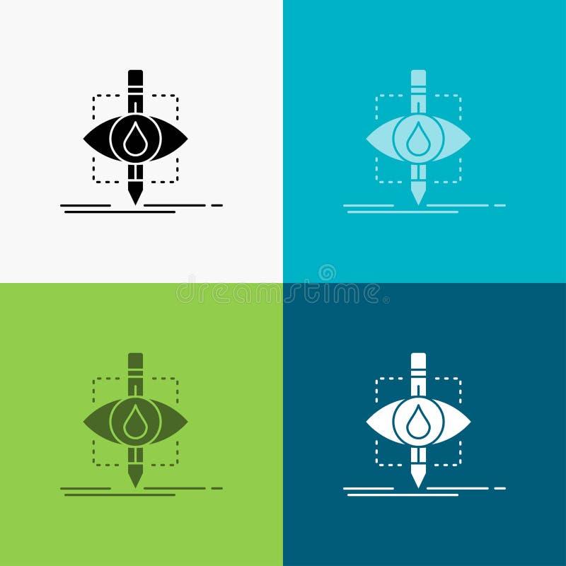 Οικολογία, έλεγχος, ρύπανση, έρευνα, εικονίδιο επιστήμης πέρα από το διάφορο υπόβαθρο glyph σχέδιο ύφους, που σχεδιάζεται για τον διανυσματική απεικόνιση