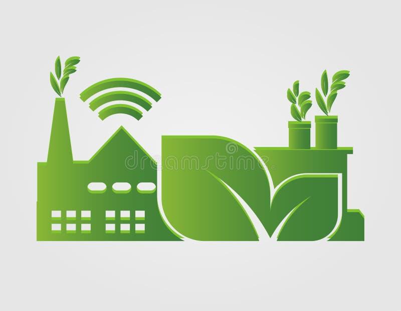 Οικολογία εργοστασίων, εικονίδιο βιομηχανίας, καθαρή ενέργεια με τις φιλικές προς το περιβάλλον ιδέες έννοιας επίσης corel σύρετε διανυσματική απεικόνιση
