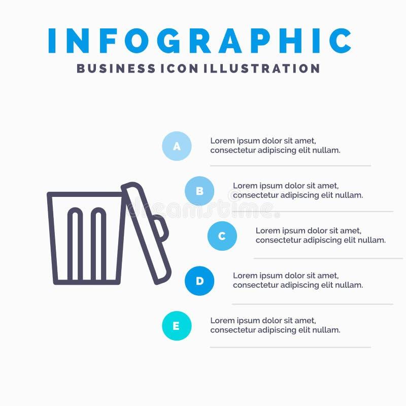 Οικολογία, περιβάλλον, απορρίματα, εικονίδιο γραμμών απορριμμάτων με το υπόβαθρο infographics παρουσίασης 5 βημάτων ελεύθερη απεικόνιση δικαιώματος