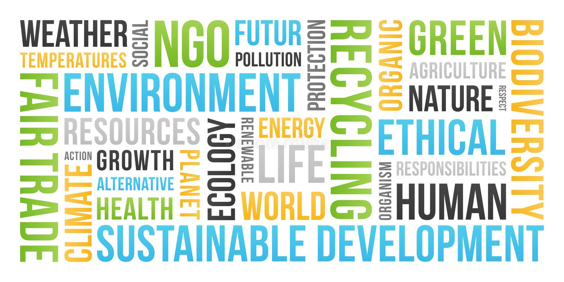 Οικολογία, περιβάλλον, βιώσιμη ανάπτυξη - σύννεφο του Word στοκ φωτογραφία