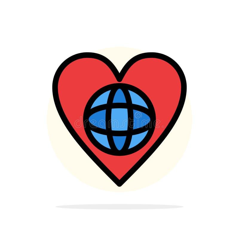 Οικολογία, περιβάλλον, κόσμος, καρδιά, όπως το αφηρημένο κύκλων εικονίδιο χρώματος υποβάθρου επίπεδο απεικόνιση αποθεμάτων