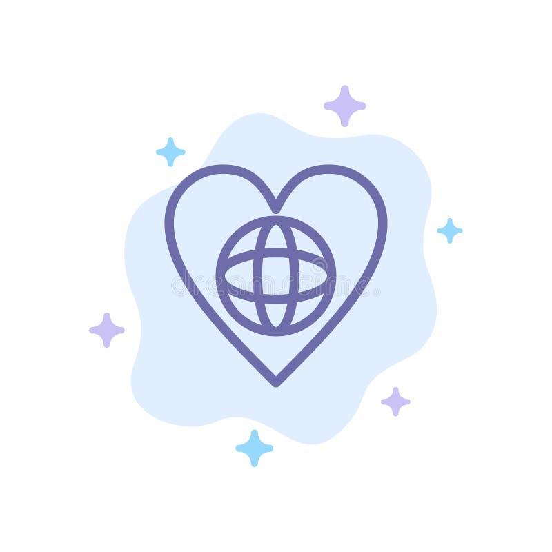 Οικολογία, περιβάλλον, κόσμος, καρδιά, όπως το μπλε εικονίδιο στο αφηρημένο υπόβαθρο σύννεφων ελεύθερη απεικόνιση δικαιώματος