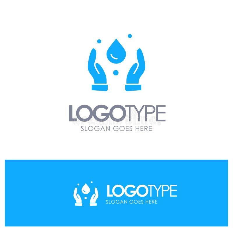 Οικολογία, περιβάλλον, μπλε στερεό λογότυπο φύσης με τη θέση για το tagline διανυσματική απεικόνιση