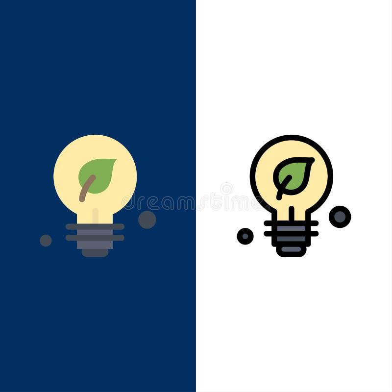 Οικολογία, περιβάλλον, πράσινος, εικονίδια ιδέας Επίπεδος και γραμμή γέμισε το καθορισμένο διανυσματικό μπλε υπόβαθρο εικονιδίων απεικόνιση αποθεμάτων