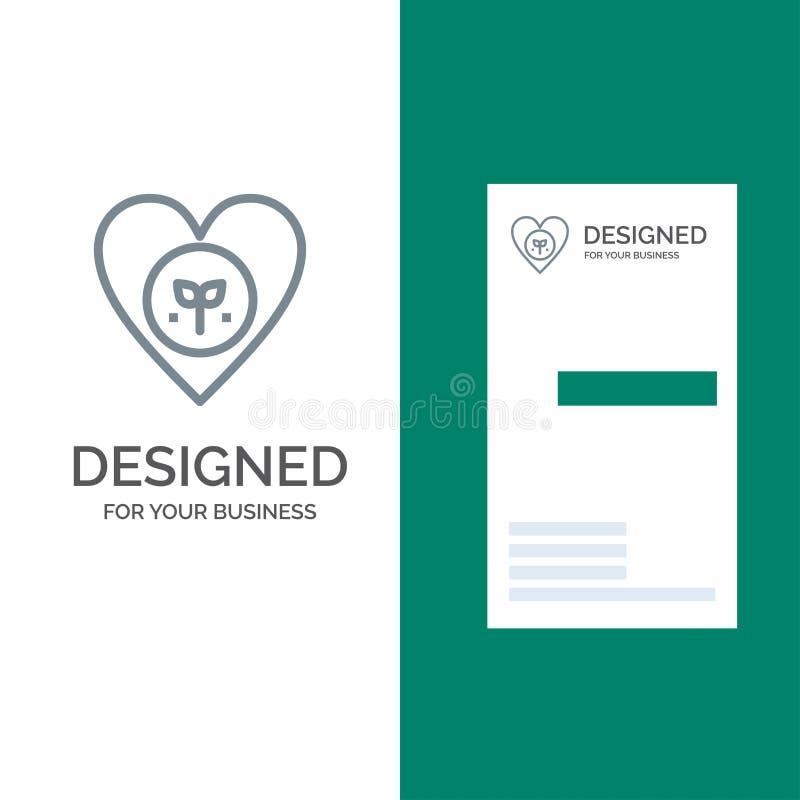 Οικολογία, περιβάλλον, συμπάθεια, καρδιά, όπως το γκρίζο σχέδιο λογότυπων και το πρότυπο επαγγελματικών καρτών απεικόνιση αποθεμάτων