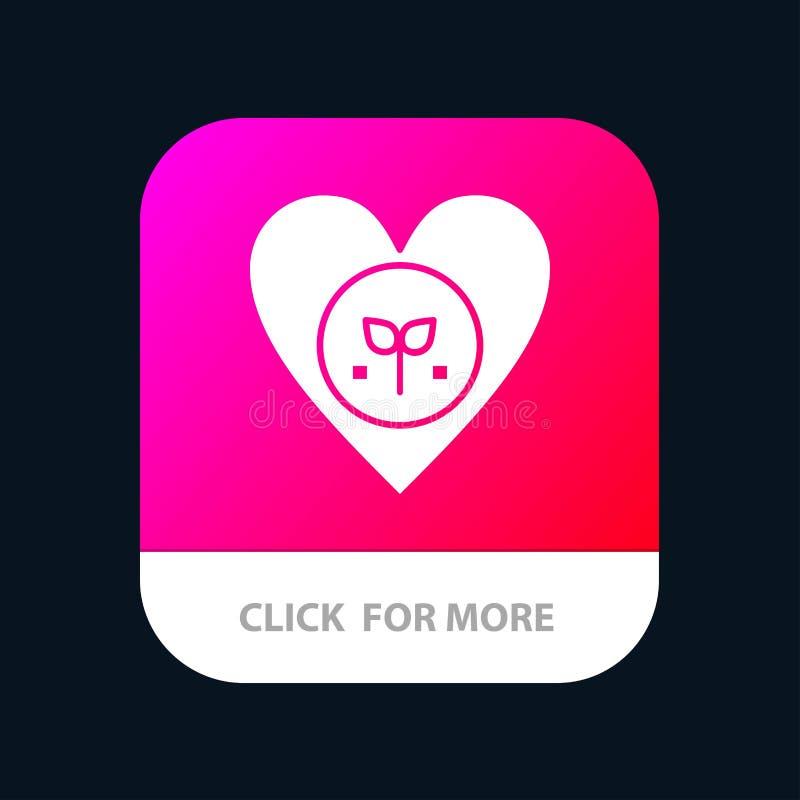 Οικολογία, περιβάλλον, συμπάθεια, καρδιά, όπως το κινητό App κουμπί Αρρενωπή και IOS Glyph έκδοση ελεύθερη απεικόνιση δικαιώματος