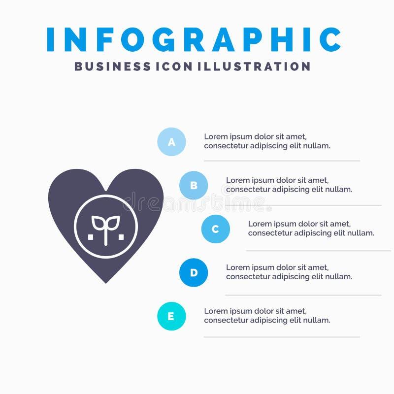 Οικολογία, περιβάλλον, συμπάθεια, καρδιά, όπως το στερεό εικονίδιο Infographics 5 υπόβαθρο παρουσίασης βημάτων διανυσματική απεικόνιση