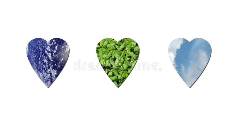 Download οικολογικές καρδιές απεικόνιση αποθεμάτων. εικονογραφία από απόβλητα - 13190282