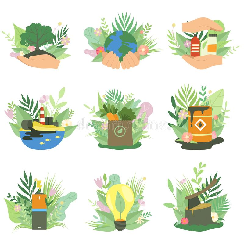 Οικολογικοί περιβαλλοντικά προβλήματα και πόροι εναλλακτικής λύσης και ανανεώσιμης ενέργειας καθορισμένοι, διάνυσμα έννοιας οικολ διανυσματική απεικόνιση