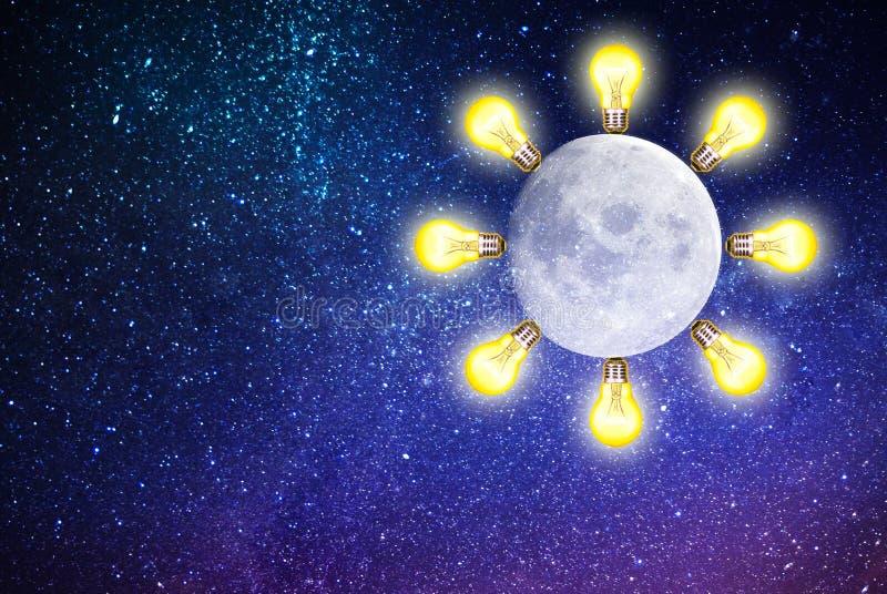 Οικολογικός καθαρός γαλαξίας φωτισμού φεγγαριών διανυσματική απεικόνιση