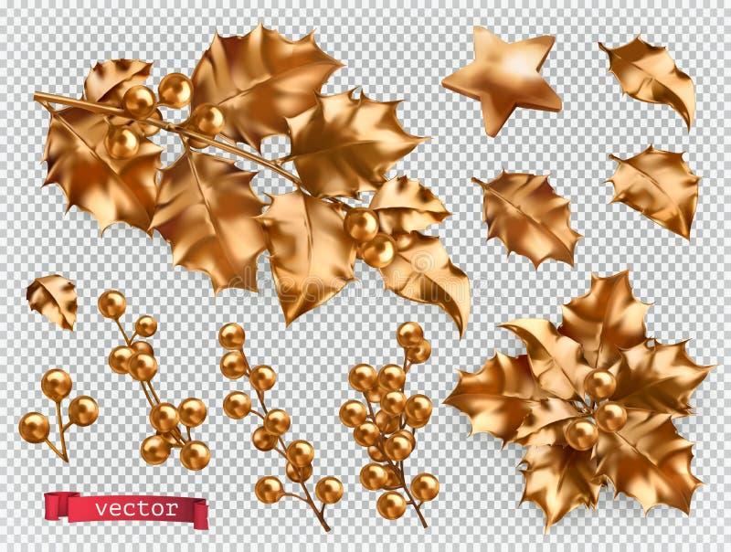 οικολογικός ξύλινος διακοσμήσεων Χριστουγέννων Χρυσό σύνολο εικονιδίων ελαιόπρινου τρισδιάστατο διανυσματικό απεικόνιση αποθεμάτων