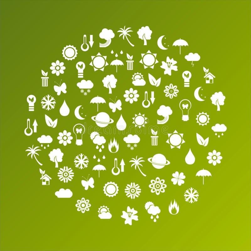 Οικολογικός πλανήτης φιαγμένος από εικονίδια διανυσματική απεικόνιση