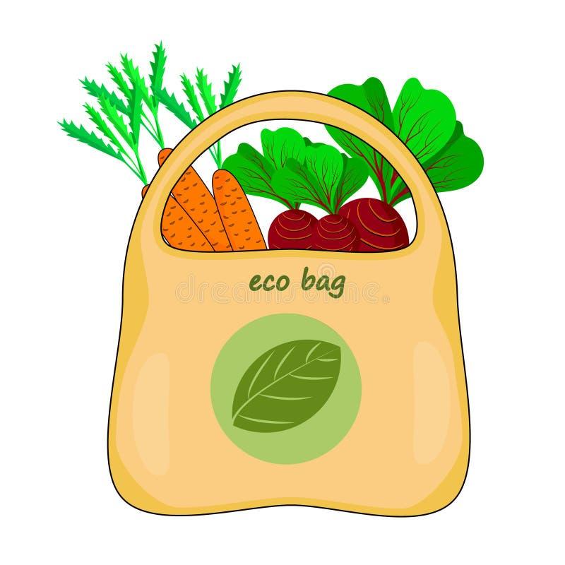Οικολογικός σάκος απομονωμένος σε λευκό φόντο Οικολογική σακούλα με λαχανικά Πράσινη τσάντα για ψώνια με λογότυπο σύμβολο ανακύκλ διανυσματική απεικόνιση