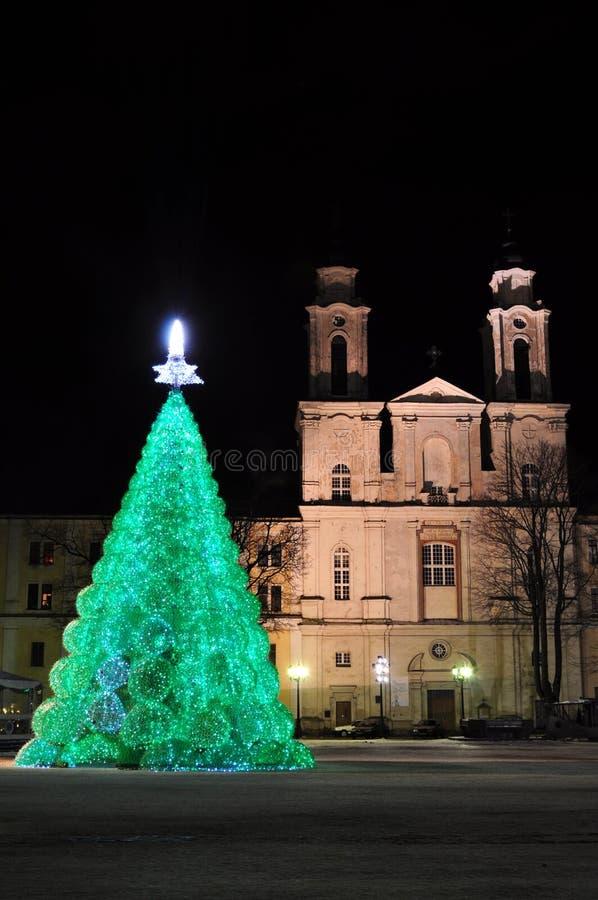 Οικολογικό χριστουγεννιάτικο δέντρο στην αίθουσα πόλεων στοκ φωτογραφία