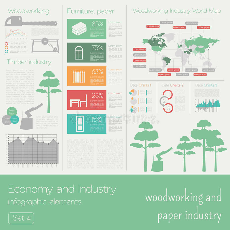 Οικονομία και βιομηχανία Ξυλουργική και βιομηχανία χαρτιού βιομηχανικός απεικόνιση αποθεμάτων