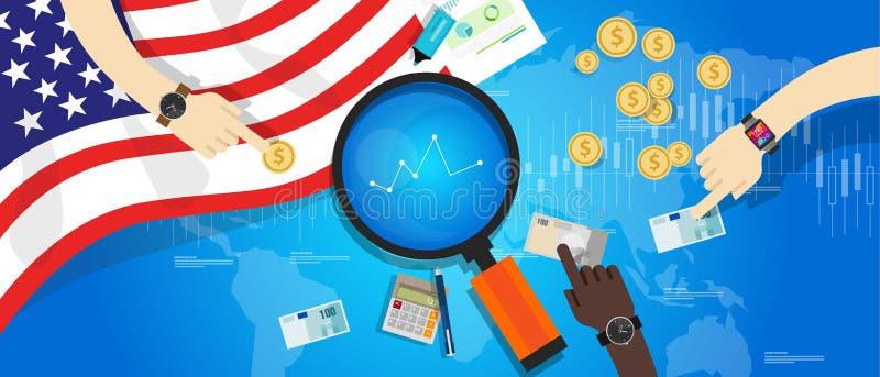 Οικονομία της Αμερικής ΗΠΑ Ηνωμένες Πολιτείες οικονομική ελεύθερη απεικόνιση δικαιώματος
