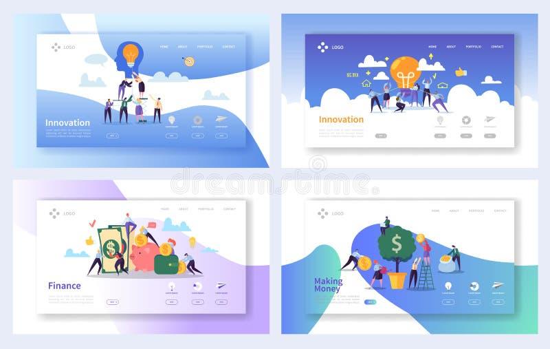 Οικονομικές ιδέες επιχειρησιακής καινοτομίας που προσγειώνονται το σύνολο σελίδων Δημιουργική έννοια αύξησης χρημάτων Σε απευθεία διανυσματική απεικόνιση