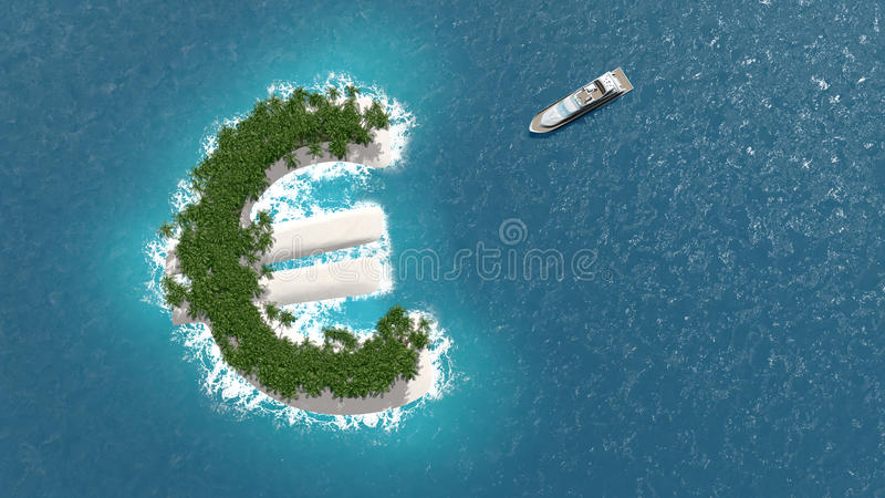 Οικονομικής ή πλούτου διαφυγή φορολογικών παραδείσων, σε ένα ευρο- νησί Μια βάρκα πολυτέλειας πλέει στο νησί ελεύθερη απεικόνιση δικαιώματος