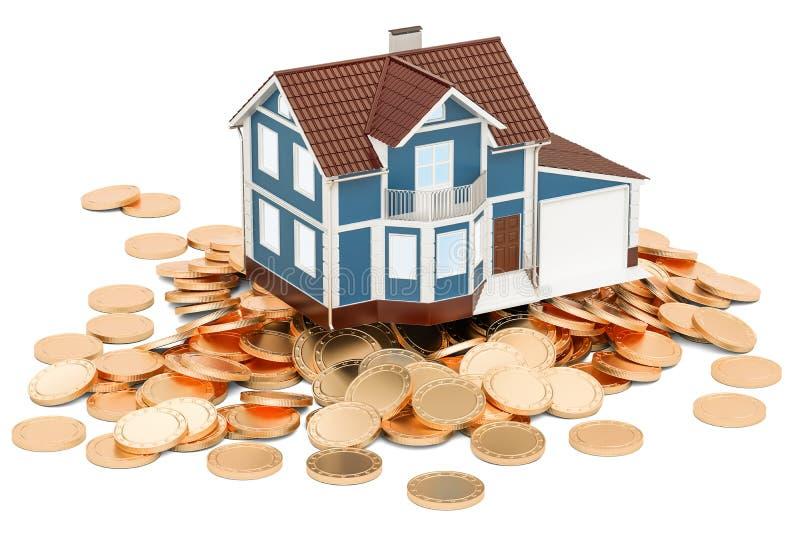 Οικονομική έννοια ακίνητων περιουσιών, σπίτι στα χρυσά νομίσματα τρισδιάστατο renderi ελεύθερη απεικόνιση δικαιώματος