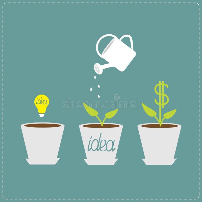οικονομική ανάπτυξη έννοιας νομισμάτων πέρα από το λευκό φυτών Σπόρος βολβών ιδέας, πότισμα απεικόνιση αποθεμάτων