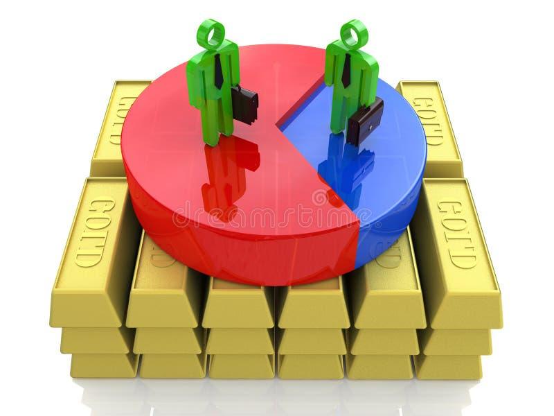 Οικονομική ανάπτυξη της επιχείρησης των χρυσών επιφυλάξεων διανυσματική απεικόνιση