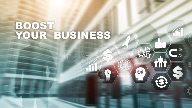 Οικονομική και έννοια τεχνολογίας Σε μια εικονική επιγραφή οθόνης: Ωθήστε την επιχείρησή σας στοκ εικόνες