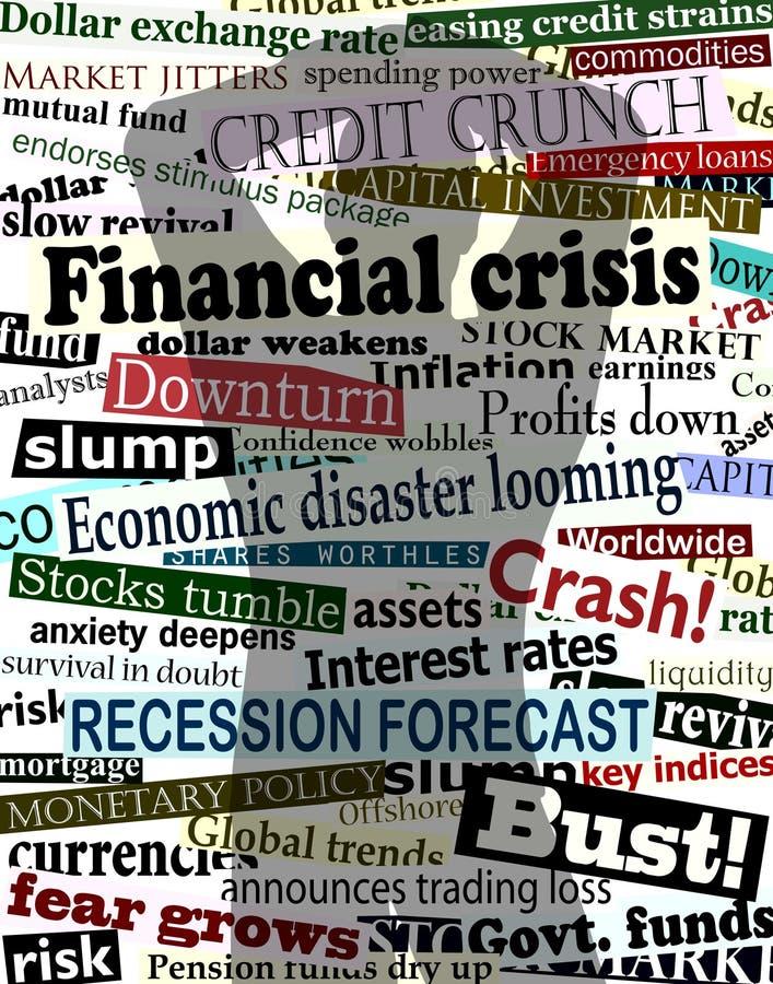 οικονομική σκιά κρίσης διανυσματική απεικόνιση