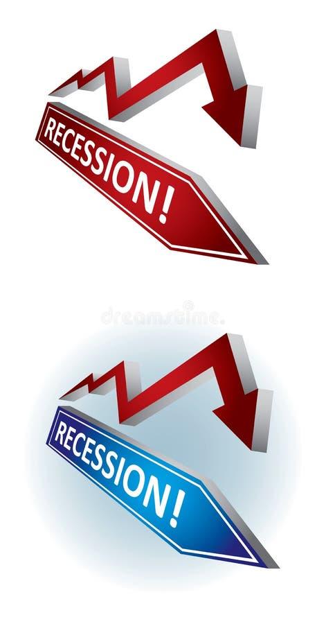 οικονομική υποχώρηση διανυσματική απεικόνιση