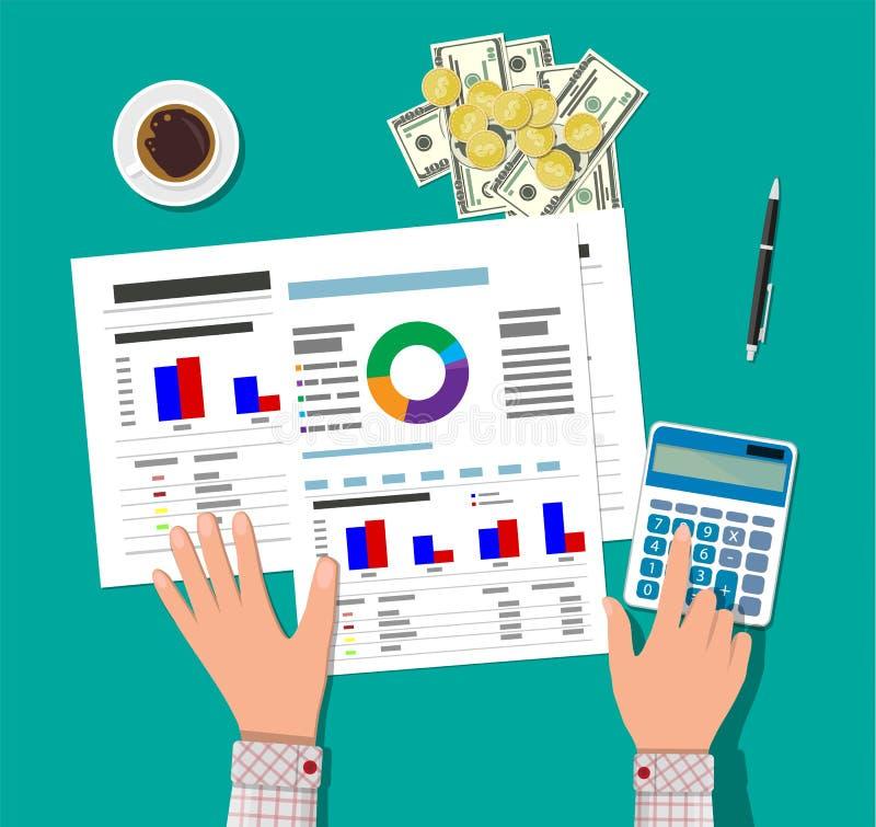 Οικονομικοί υπολογισμοί Διαδικασία εργασίας ελεύθερη απεικόνιση δικαιώματος