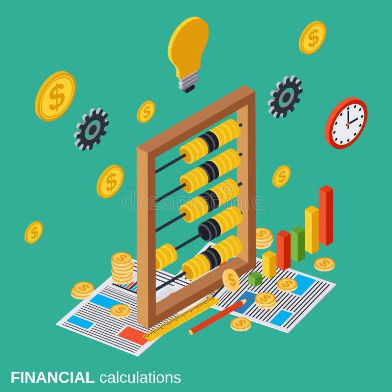 Οικονομικοί υπολογισμοί, προγραμματισμός προϋπολογισμών, διανυσματική έννοια καθορισμού δαπανών απεικόνιση αποθεμάτων