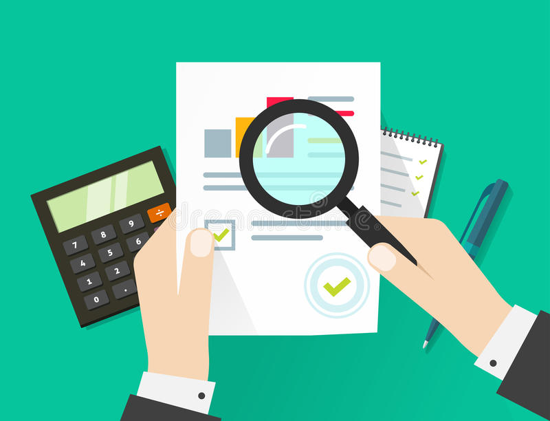 Οικονομικός λογιστικός έλεγχος, φορολογική διαδικασία ελέγχου, φύλλο εγγράφου με τα χέρια ελεύθερη απεικόνιση δικαιώματος