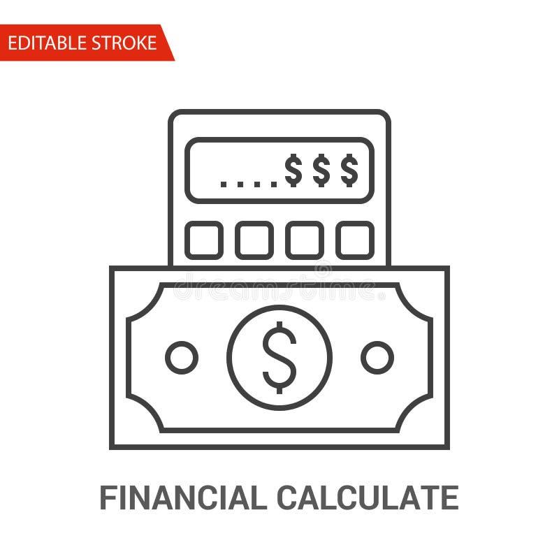 Οικονομικός υπολογίστε το εικονίδιο Λεπτή διανυσματική απεικόνιση γραμμών διανυσματική απεικόνιση