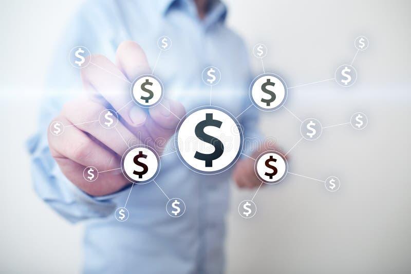 Οικονομικό δίκτυο και crowdfunding έννοια Fintech επιχειρησιακή έννοια οι&kapp στοκ φωτογραφίες