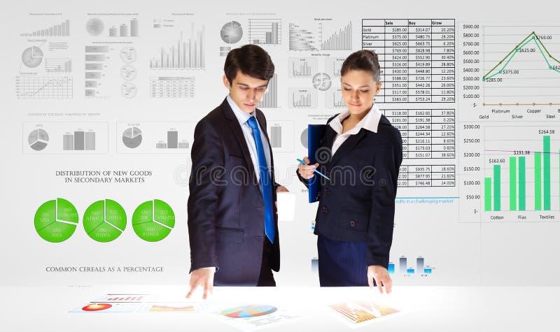 οικονομικό λευκό εκθέσεων πεννών oer διαγραμμάτων ανασκόπησης στοκ εικόνα
