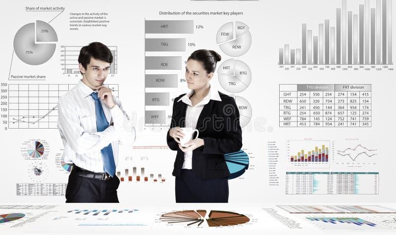 οικονομικό λευκό εκθέσεων πεννών oer διαγραμμάτων ανασκόπησης στοκ εικόνες