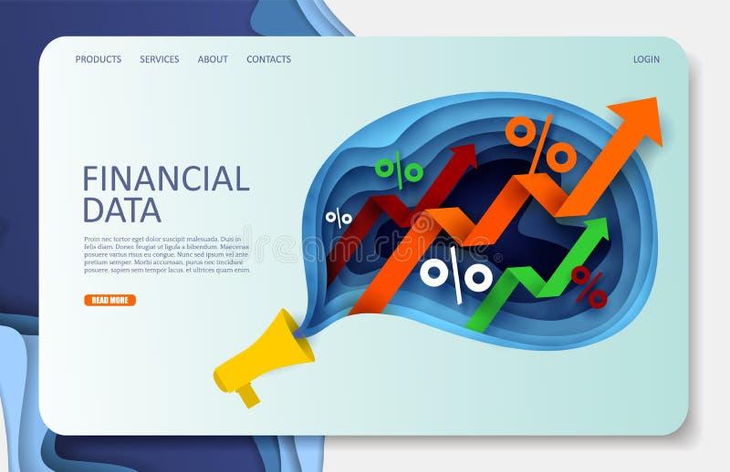 Οικονομικό στοιχείων διανυσματικό πρότυπο σχεδίου σελίδων ιστοχώρου προσγειωμένος ελεύθερη απεικόνιση δικαιώματος