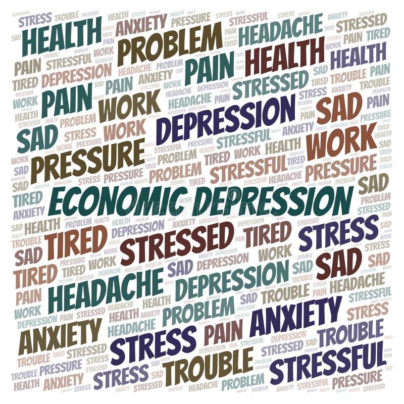 Οικονομικό σύννεφο λέξης κατάθλιψης ελεύθερη απεικόνιση δικαιώματος