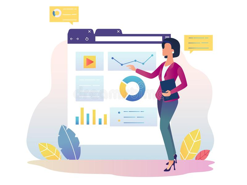 Οικονομικό analytics Κορίτσι με τη διαλογική επίδειξη απεικόνιση αποθεμάτων