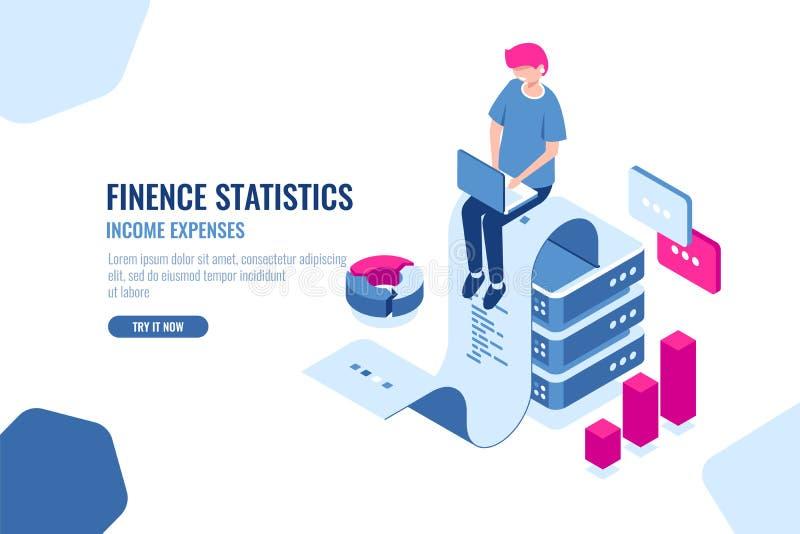 Οικονομικό isometric εικονίδιο στατιστικών, μεγάλα στοιχεία - επεξεργασία, έννοια εισοδηματικής δαπάνης, ταινία εγγράφου με το κε απεικόνιση αποθεμάτων