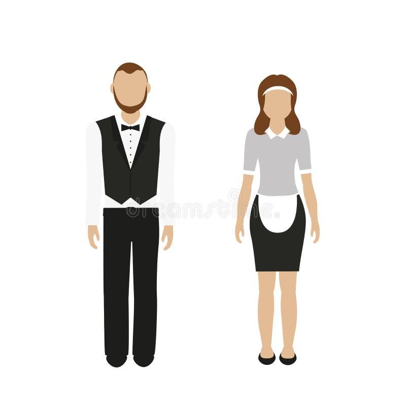 Οικονόμος και υπηρέτρια χαρακτήρα ανδρών και γυναικών ελεύθερη απεικόνιση δικαιώματος