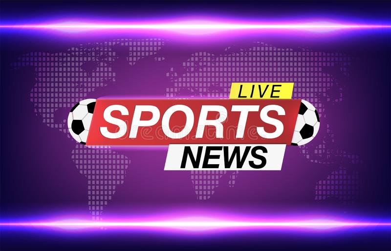 Οικονόμος οθόνης υποβάθρου στις αθλητικές ειδήσεις ποδοσφαίρου Οι αθλητικές ειδήσεις ζουν στο υπόβαθρο παγκόσμιων χαρτών επίσης c απεικόνιση αποθεμάτων